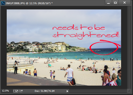 Straighten an image in Photoshop
