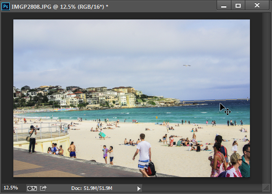Drag along an element in the image which should be horizontal or vertical using the Ruler tool.