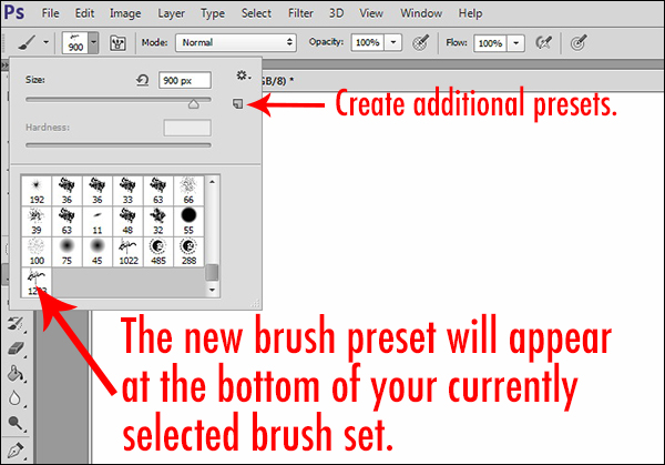 You can further customize the brush by saving another preset with variations of size, color, and opacity.