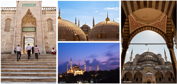 Four different ways of portraying the Blue Mosque in Istanbul.