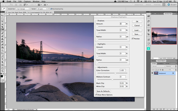 Shadow and Highlights function in Photoshop
