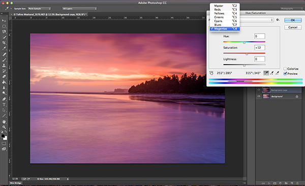 Getting the most out of the Hue and Saturation tool by saturating colours by channel