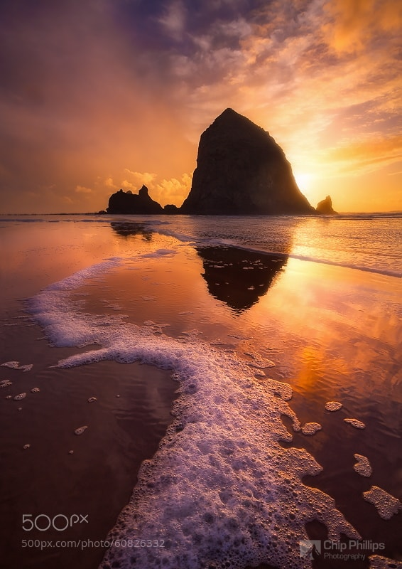 Photograph Winter Sunset Haystack Rock by Chip Phillips on 500px