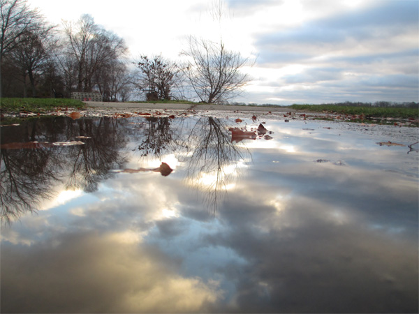 puddle, reflection, symmetry, how to, sunset