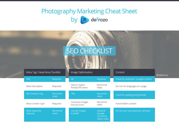 30 defrozo photography marketing cheat sheet