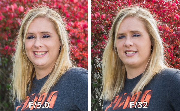 The image on the left was captured at 250th of a second at F5.0 which resulted in a very shallow depth of field,