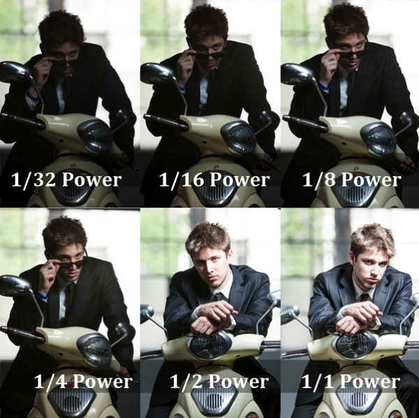 six shots of a man on a motorcycle with increasing flash power