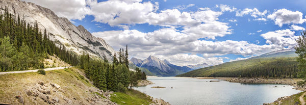 Final edited panoramic image of Medicine Lake in the Canadian Rockies