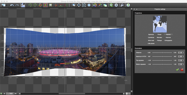 Projection function in Autopano Giga