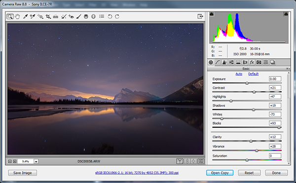 Adobe Camera Raw for processing star trails in Photoshop