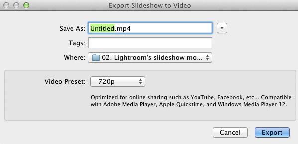 Slideshow module Lightroom
