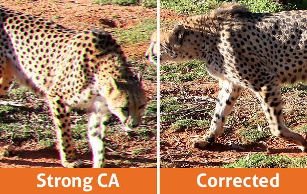 OziRig Cheetah Chromatic Aberration Comparison