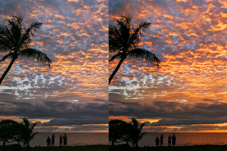 Landscape photography Sunset before after