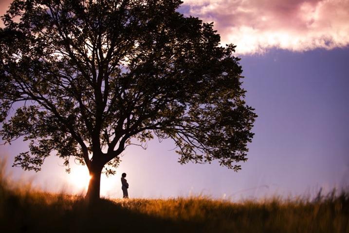 fotografia de silhueta perfeita de mulher perto de uma árvore