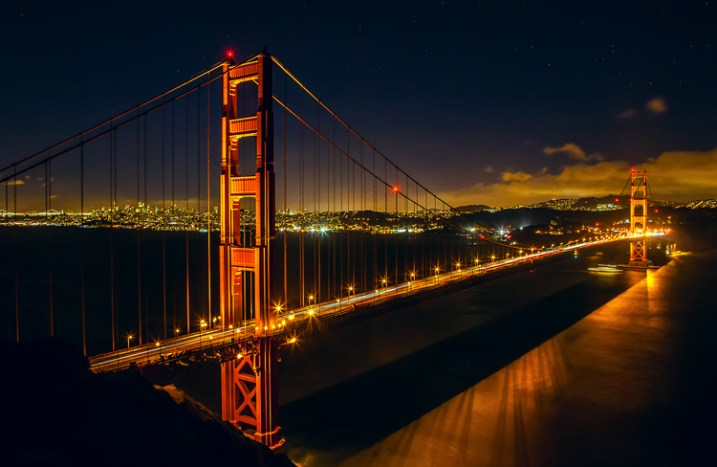 Great Subjects for Urban Night Photography - Golden Gate Bridge example
