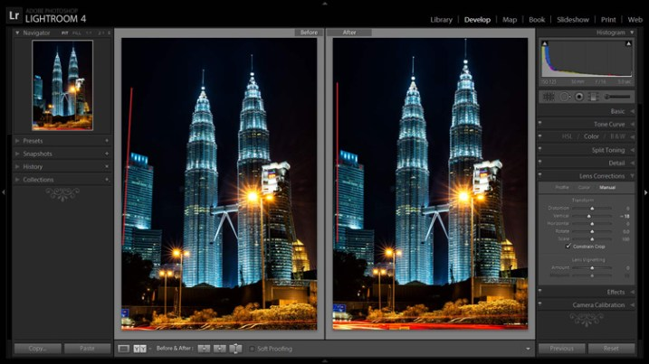 A before and after showing corrections for converging lines.