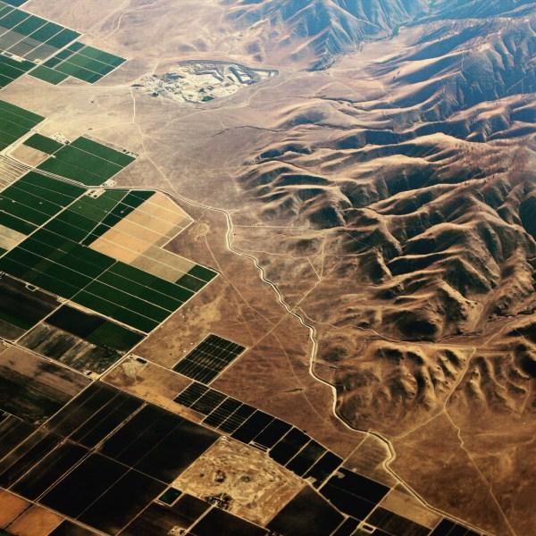 High above California's Central Valley, USA