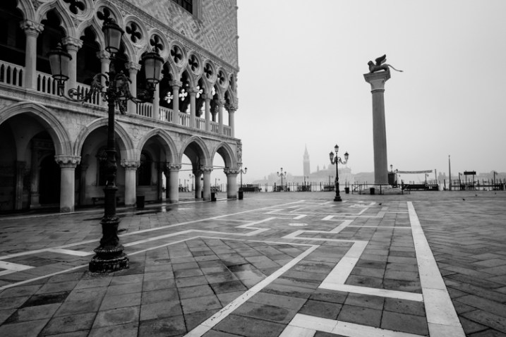 VENICE, ITALY - CIRCA MAY 2015:  Piazza San Marco and Doge's Palace with San Giorgio Maggiore behind.