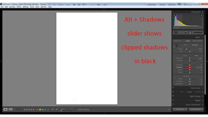 Alt + Shadows slider shows all clipped shadows.