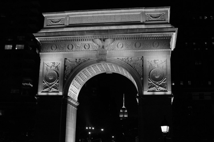 Arch and Empire State Building, Washington Square Park.