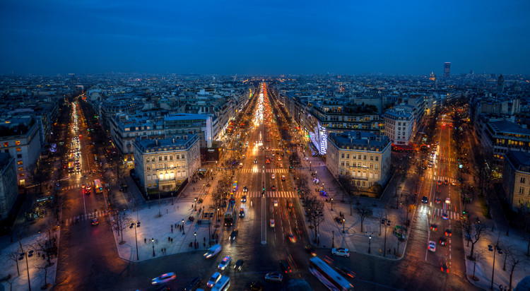 Night Photographers Toolkit - Champs Elysees from the Arc de Triomphe