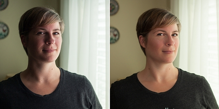 Left - No flash. Right - Single flash, on-camera, turned to right of subject for fill light.