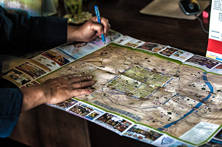 Using a city map to plan the day