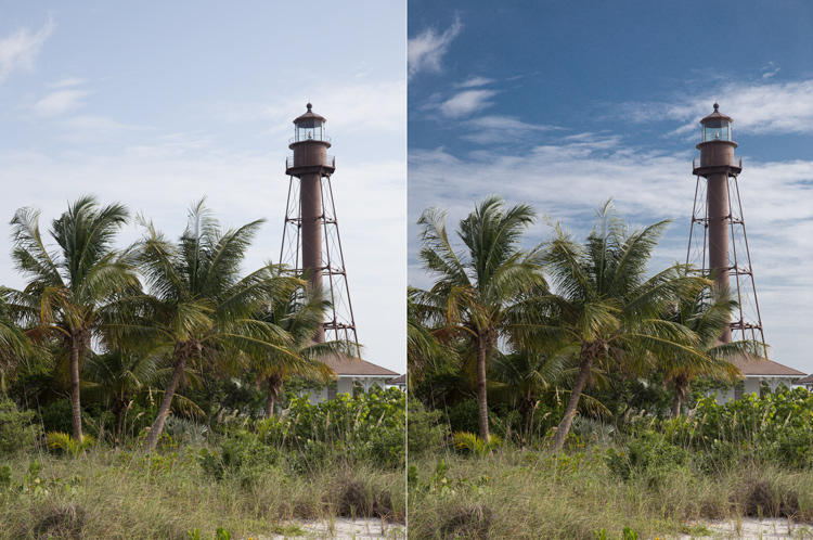 Photo of Lighthouse on Sanibel Island, Florida: Example of sky enhancement using Lightroom