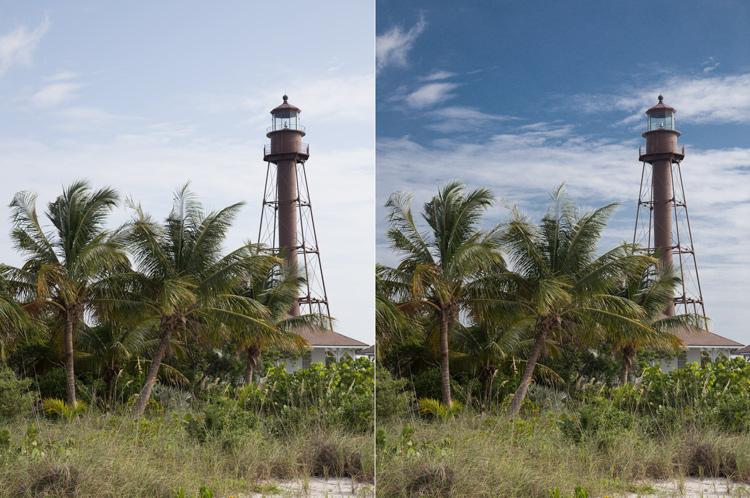 Photo of Lighthouse on Sanibel Island, Florida: Example of sky enhancement using Lightroom