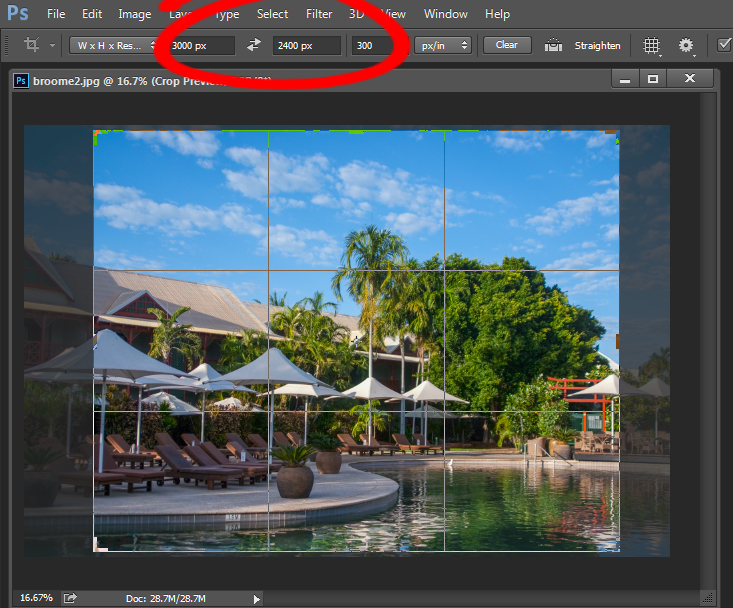 When cropping in Photoshop, you can specify image size and resolution