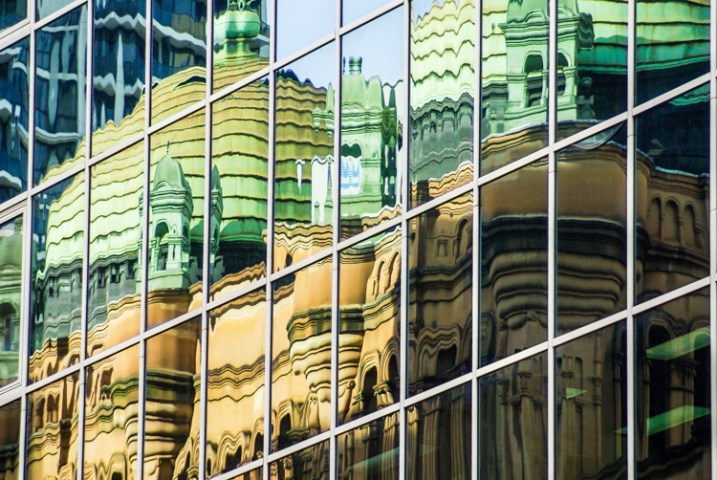 Queen Vic Building Sydney reflection - shot with a Tamron 28-200