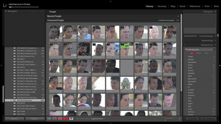 Lightroom's facial recognition feature