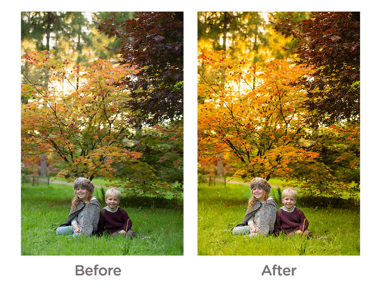 before and after editing fall portrait