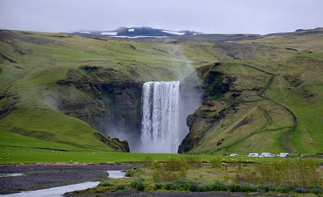 NEAR SKOGAR, ICELAND - JUN 19:  Skogafoss waterfall on June 19, 2015, was in the film The Secret Life of Walter Mitty in 2013.