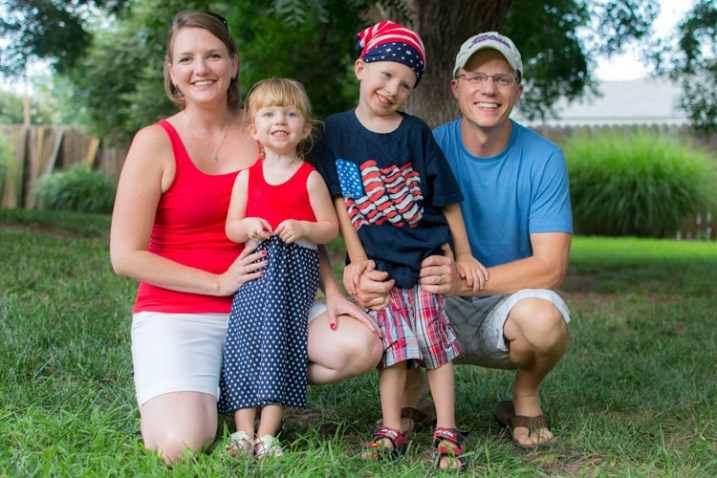 This family picture I took on July 4 is fine, but the boy's expression is not the greatest.