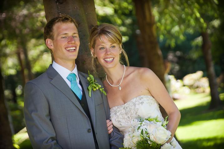wedding couple with distracting background