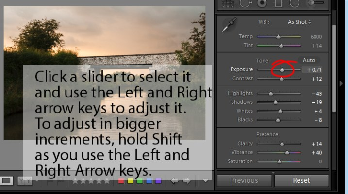 adjust Lightroom sliders using the arrow keys