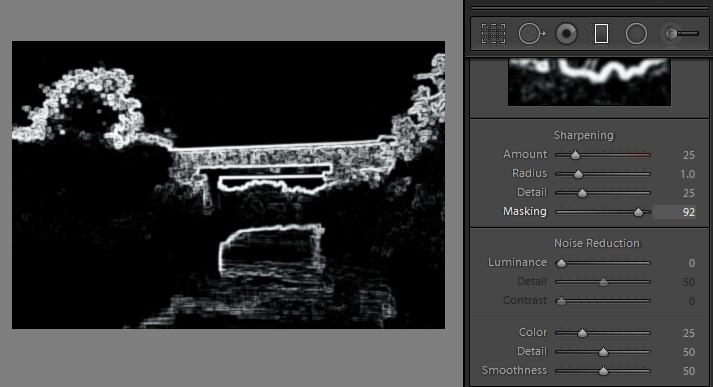 alt key provides visual feedback for many sliders in Lightroom