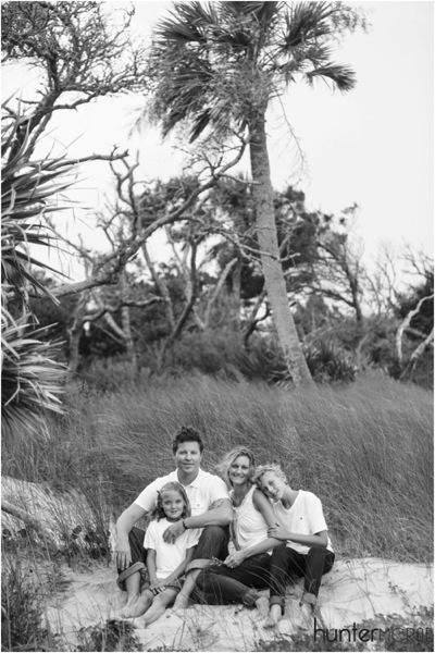 black and white family shot