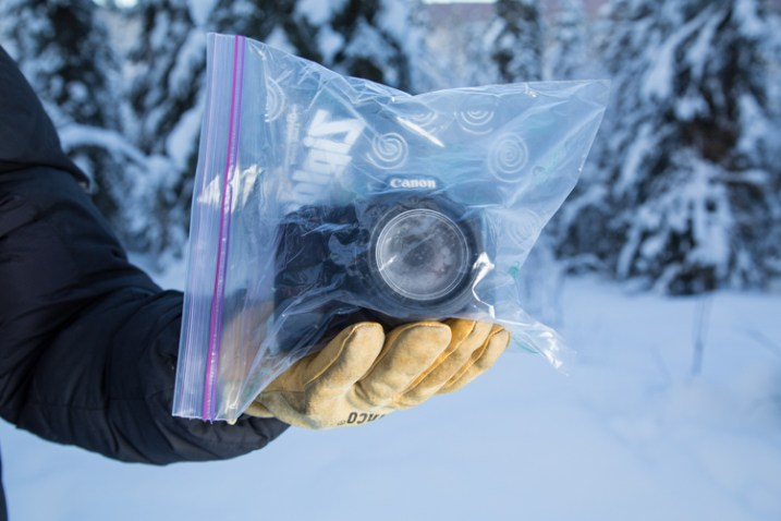 A properly bagged and sealed camera, ready to be taken back indoors after a cold outdoor shoot.