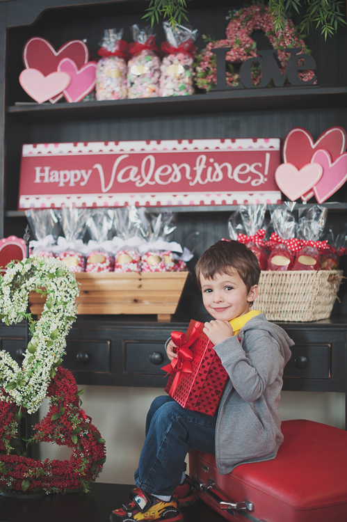 child with valentine's day gift