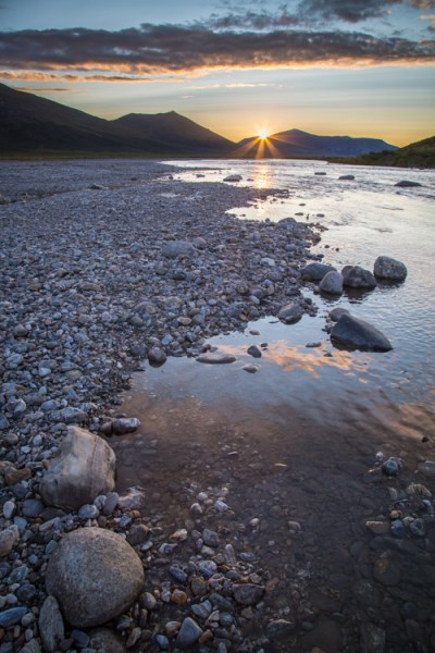 Sunset over the Noatak River, Gates of the Arctic National Park, AK USA.
