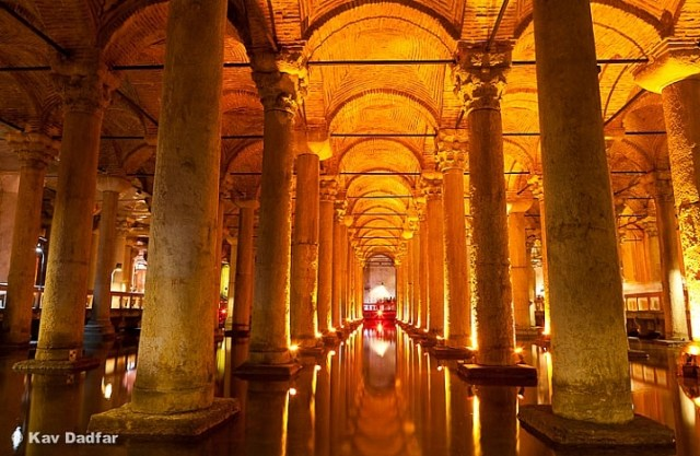 The inside of Basilica Cistern in Sultanahmet, Istanbul, Turkey, Be aware of noise and camera shake in your photos especially when photographing in low light conditions.