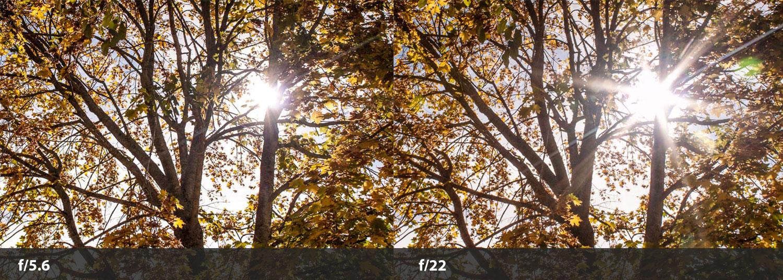 photographing sun flares aperture comparison