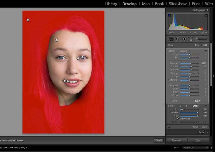 Image showing basic portrait editing in Lightroom