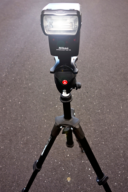 Image: My travel tripod which I also use as a light stand.