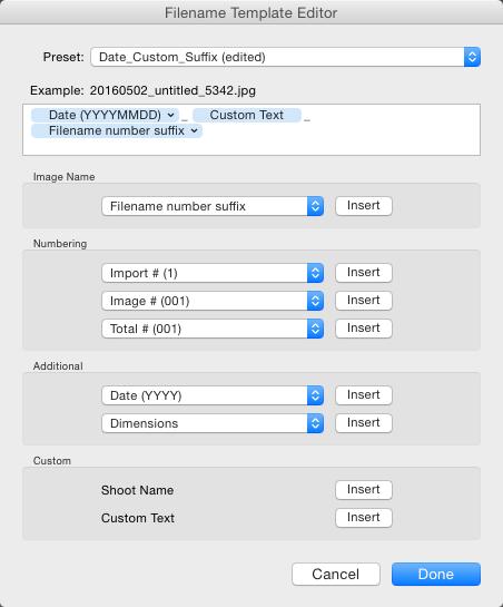 File naming in lightroom 13