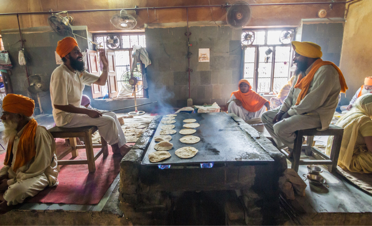 Cooking at a Sikh Temple
