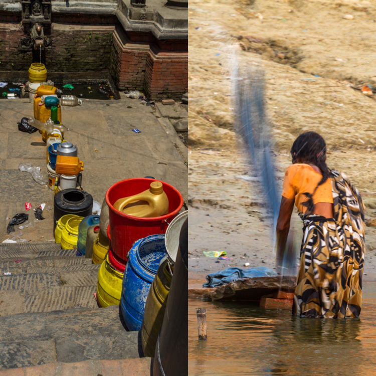Water in use in Nepal and India