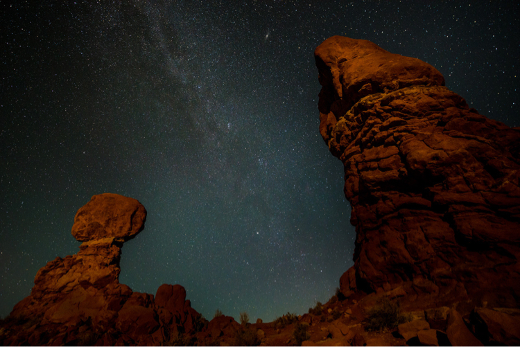 Balanced Rock, Arches National Park, at Night